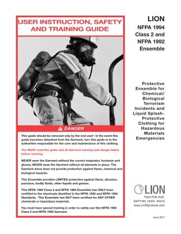 user instruction, safety and training guide - Lion Apparel