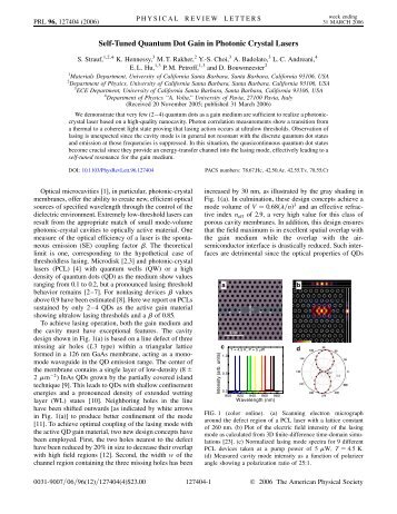 Self-Tuned Quantum Dot Gain in Photonic Crystal Lasers - Physics ...