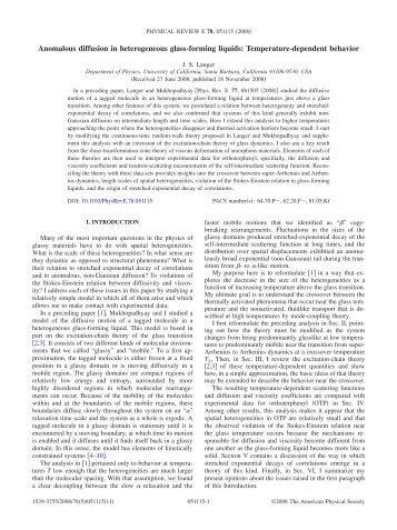 Anomalous diffusion in heterogeneous glass-forming liquids ...