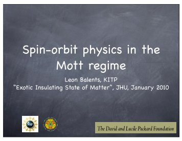 Spin-orbit physics in the Mott regime - Physics Department, UCSB