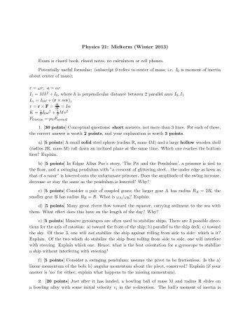 Physics 21: Midterm (Winter 2013) - Physics Department, UCSB