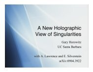 A New Holographic View of Singularities - Physics Department, UCSB