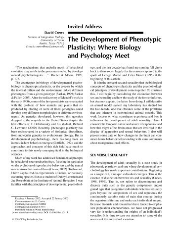 The Development of Phenotypic Plasticity: Where ... - Bio Utexas