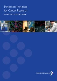 Paterson Institute for Cancer Research SCIENTIFIC REPORT 2004