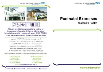Postnatal Exercises - Ashford  and St. Peter's Hospitals NHS Trust