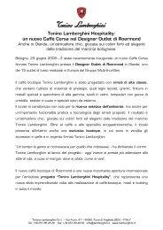 Tonino Lamborghini Hospitality: un nuovo Caffè Corsa nel Designer ...