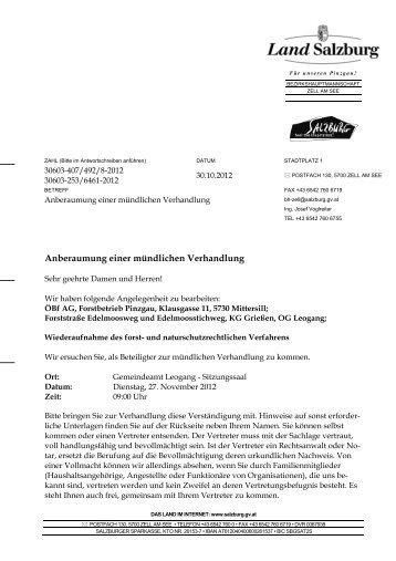 Anberaumung einer mündlichen Verhandlung - Gemeinde Leogang