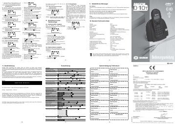 Bedienungsanleitung SAGEM D10T DECT - Fax-Anleitung.de