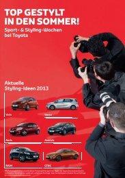 Toyota. Top gestylt in den Sommer. Styling-Ideen 2013. E-Broschüre