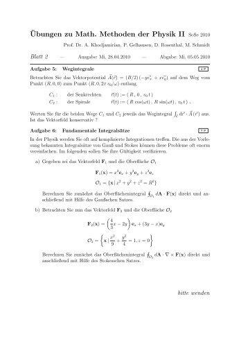 ¨Ubungen zu Math. Methoden der Physik II SoSe 2010