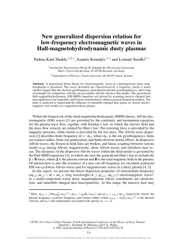 New generalized dispersion relation for low-frequency ...