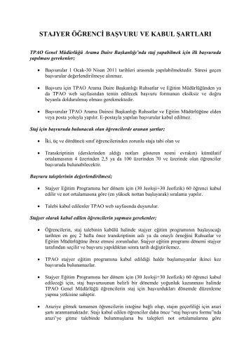 stajyer öğrenci başvuru ve kabul şartları - TPAO
