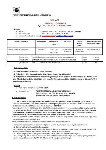 türkiye petrolleri ao genel müdürlüğü mal alımı kimyasal - TPAO