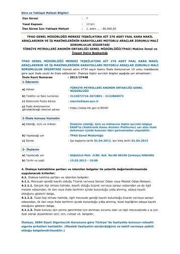 tpao genel müdürlüğü merkez teşkilatına ait 276 adet faal kara nakil ...