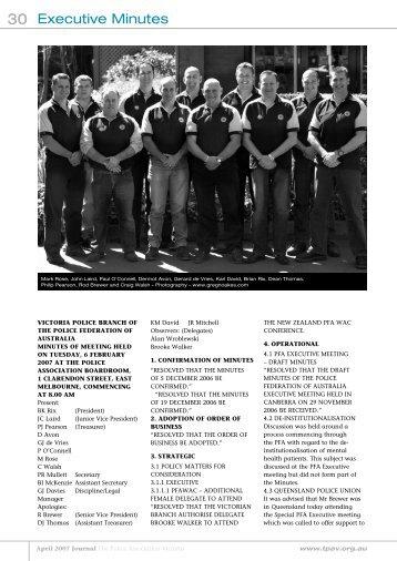 April Minutes - The Police Association Victoria