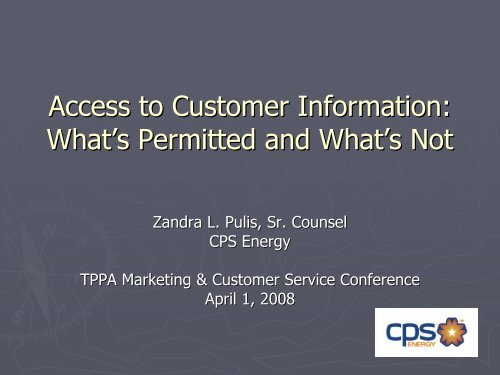 Access to Customer Information – - Texas Public Power