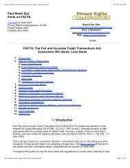 Facts on FACTA, the Fair and Accurate Credit Transactions Act