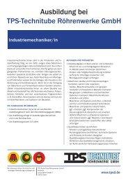 Industriemechaniker/in - TPS TECHNITUBE RÖHRENWERKE GmbH