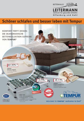 Schöner schlafen und besser leben mit Tempur - Bettenhaus ...