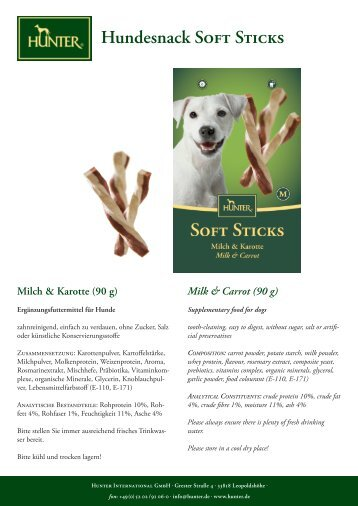 Hundesnack Soft Sticks Milch & Karotte (90 g) - Hunter