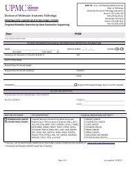PCMP Test Requisition Form & Specimen Requirements