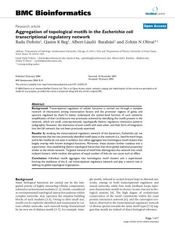 Aggregation of topological motifs in the Escherichia coli ...