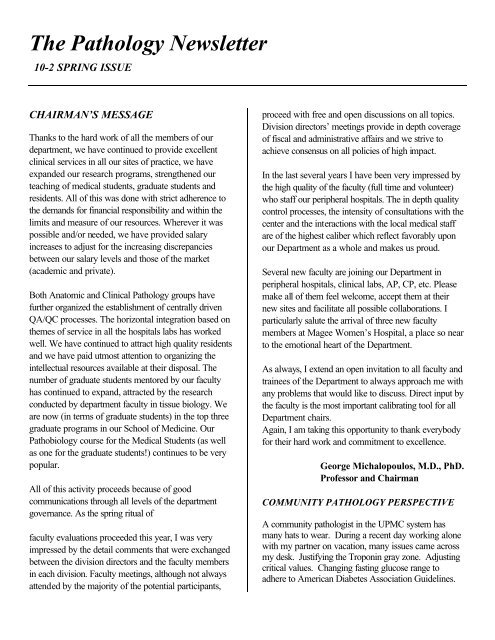 spring newsletter 04 most recent - Department of Pathology