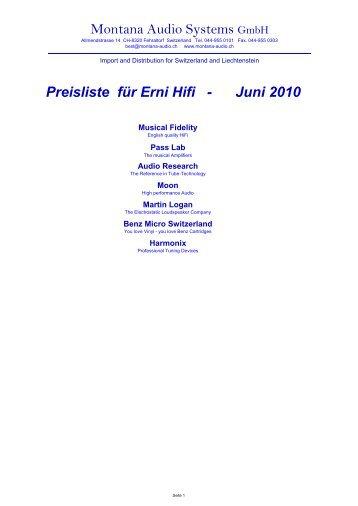 Montana Audio Systems GmbH Preisliste für Erni Hifi - Juni 2010