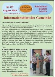 Informationsblatt der Gemeinde