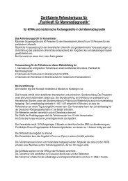 """Zertifizierte Refresherkurse für """"Fachkraft für Mammadiagnostik"""""""