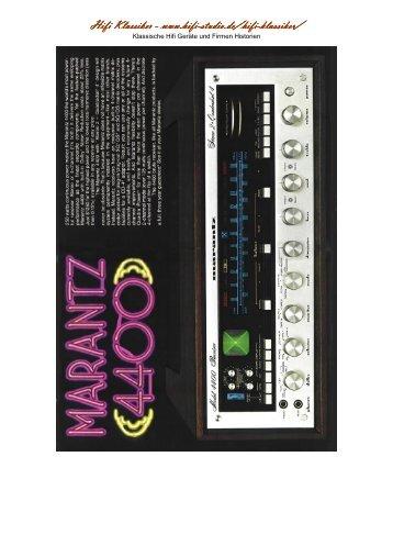 Technische Daten Marantz 4400 zum Ausdrucken (PDF) - HiFi-Studio