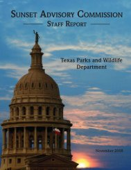 Sunset Advisory Commission Staff Report: Texas Parks and Wildlife ...