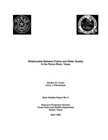 Relationship Between Fishes and Water Quality in the Pecos River ...
