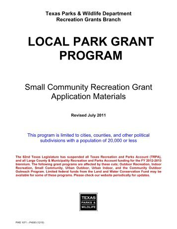 local park grant program - Texas Parks & Wildlife Department