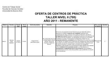 Remanentes Nivel II (795) - Carrera de Trabajo Social - Universidad ...