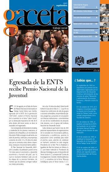 Egresada de la ENTS - Escuela Nacional de Trabajo Social - UNAM