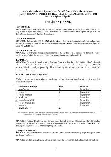 03-Üzere İşçilik Ve Araç Kiralaması Hizmet Alımı İhalesi İşine İlişkin ...