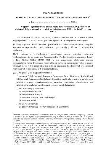 Projekt rozporządzenia ws.ograniczeń w ruchu ... - TrackerINFO