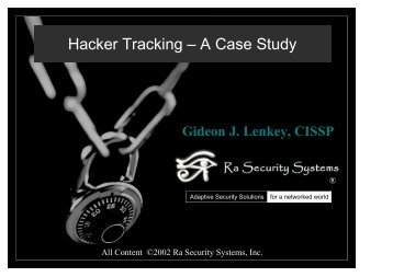 Hacker Tracking – A Case Study - Tracking Hackers