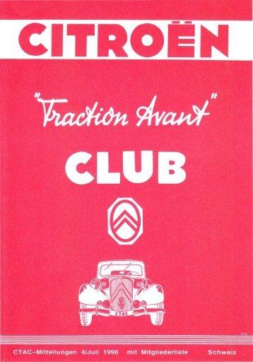 CTAC-Mitteilungen 4/Juli 1996 mit Mitgliederliste Schweiz