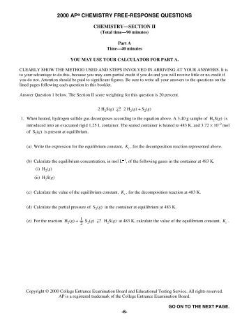 ap chemistry essay questions 2000 Chapter 6 collected ap exam free response answers 1980 - 2010  use the information in the table below to answer the questions that follow  2000 - #6a o3(g).