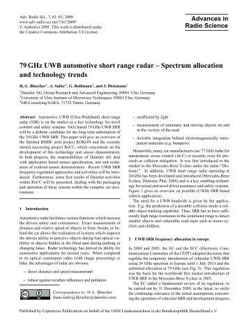79 GHz UWB automotive short range radar - Advances in Radio ...