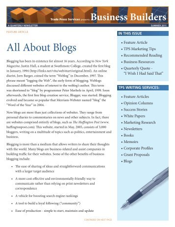 Summer 2011 – All About Blogs - Trade Press Services