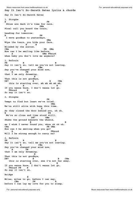 Say It Isn T So Gareth Gates Lyrics Chords Traditional Music Library I will add that also. say it isn t so gareth gates lyrics
