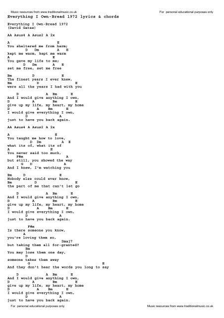 Everything I Own-Bread 1972 lyrics & chords - Traditional Music