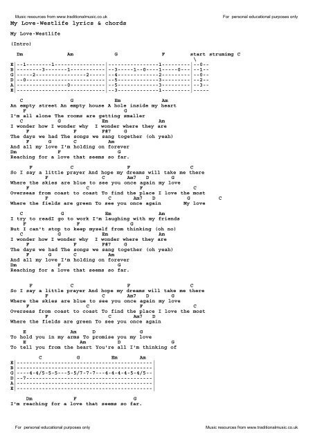 Download My Love-Westlife as PDF file - Traditional Music
