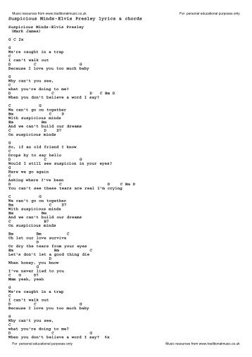 Presley Elvis Guitar Chords For Cant Help Falling In Love With You