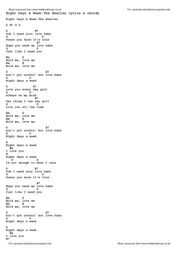 We Can Work It Out The Beatles Lyrics Chords Traditional Music