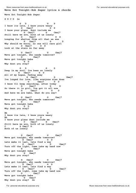 Weve Got Tonight-Bob Seger lyrics & chords - Traditional