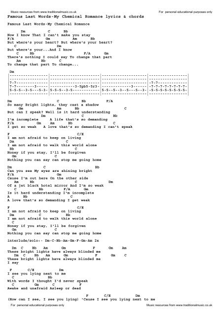 Famous Last Words-My Chemical Romance lyrics & chords